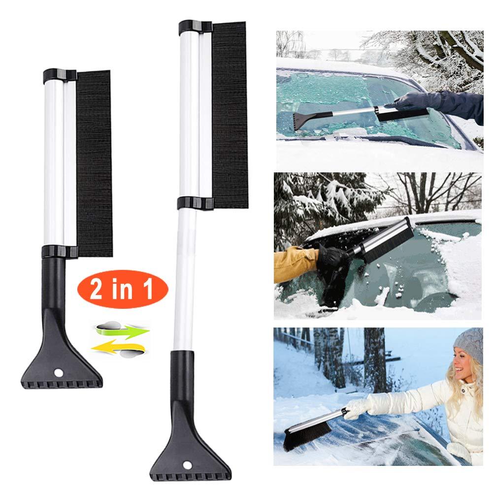 DUTISON Eiskratzer, Eiskratzer Auto mit Besen Schneebesen Auto Eisschaber 2 in 1 Schneebürste,