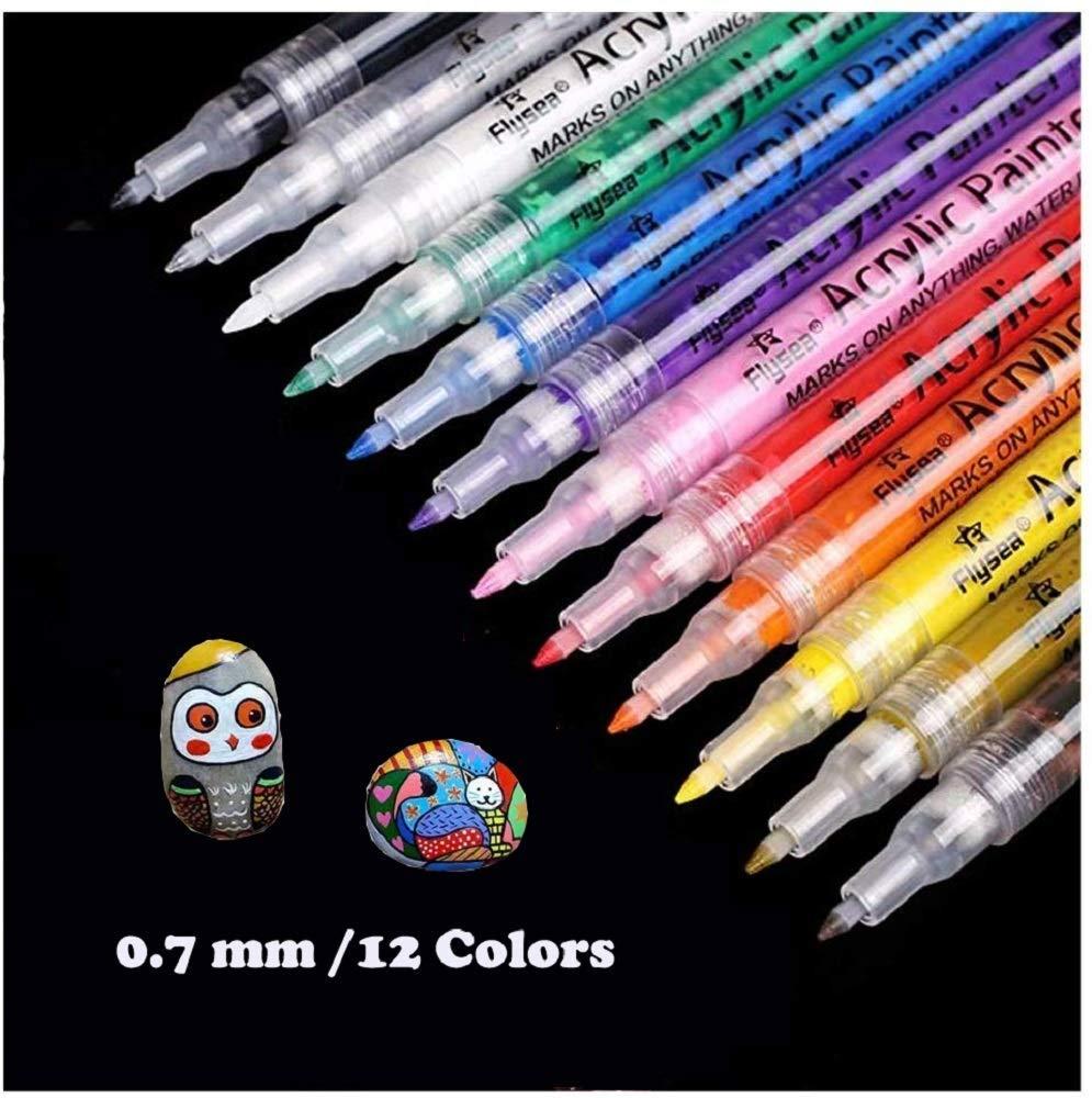 Aliyer Acrylstifte Marker Stifte, permanent Marker 12 Farben 0.7mm Strichstärke
