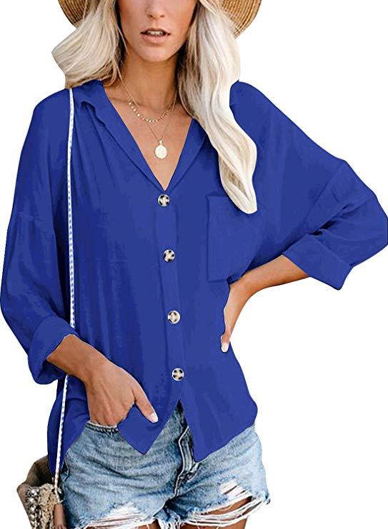 Cassiecy Damen Bluse Elegant Langarm Casual Oberteil Lose Langarmshirt Einfarbig Wild V-Ausschnitt Hemd Shirt