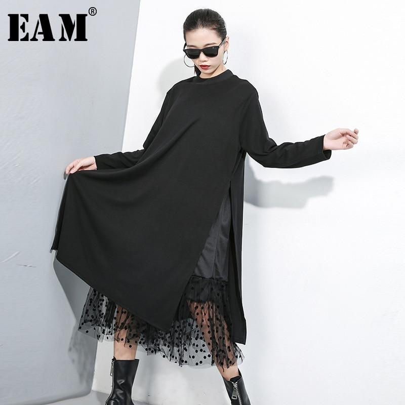 Frauen Schwarz Mesh Dot Split Joint Kleid