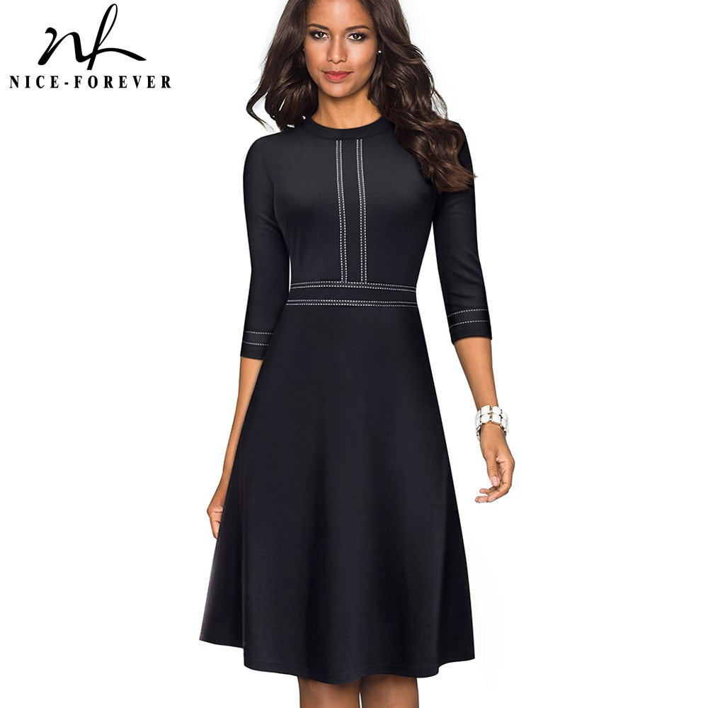 Nizza-für immer Vintage Elegante Patchwork rundhals Kleid