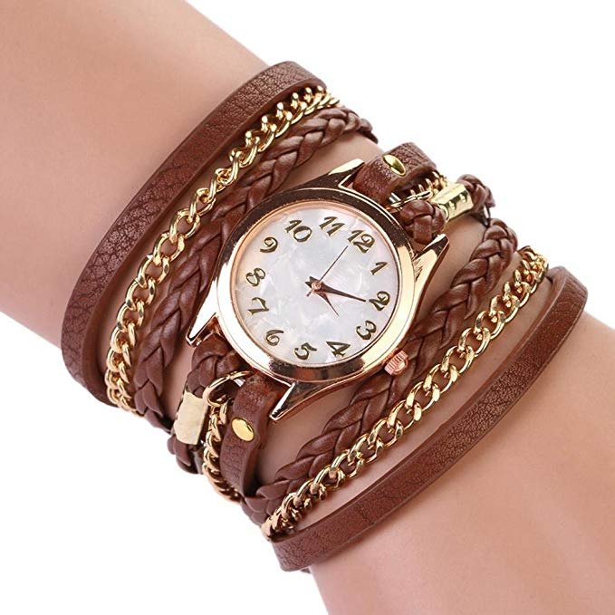 80% off Women Retro Synthetic Leather Strap Watch Bracelet Wristwatch Armbanduhren