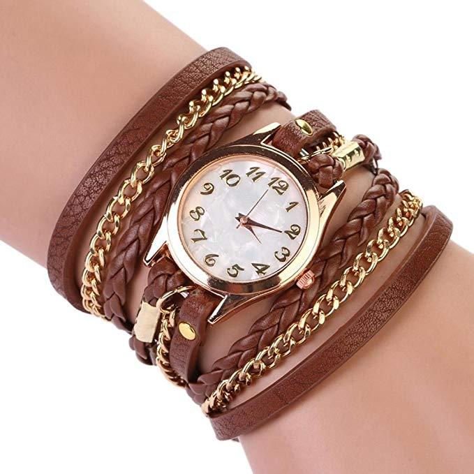 80% off Women Retro Synthetic Leather Strap Watch Bracelet Wristwatch Armbanduhren