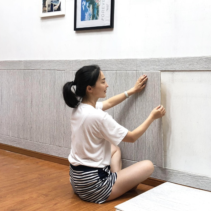 3D PE Schaum holzmaserung Panel Wand Aufkleber