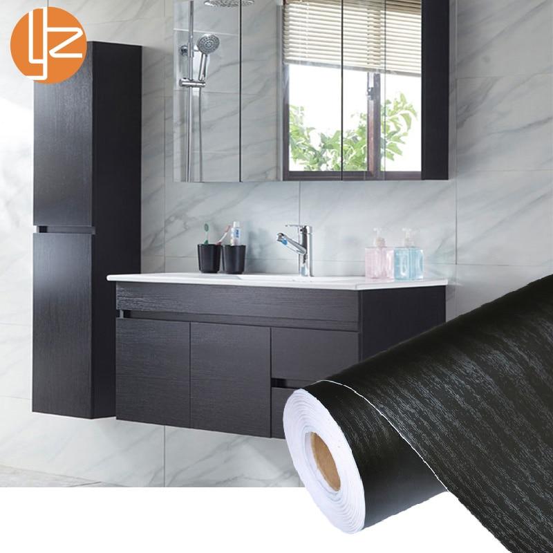 PVC Selbst Klebstoff Wasserdicht Schwarz Holz Tapete Rolle Möbel Tür Desktop Schränke Schrank Vinyl Wand Aufkleber Kontaktieren Papier