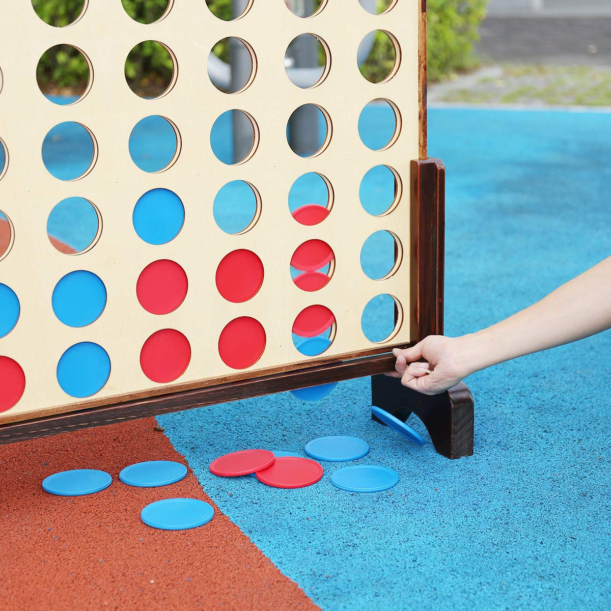 Shinehalo Vier gewinnt Spiel aus Holz Vier in Einer Reihe Kinderspiele mit Tragekoffer