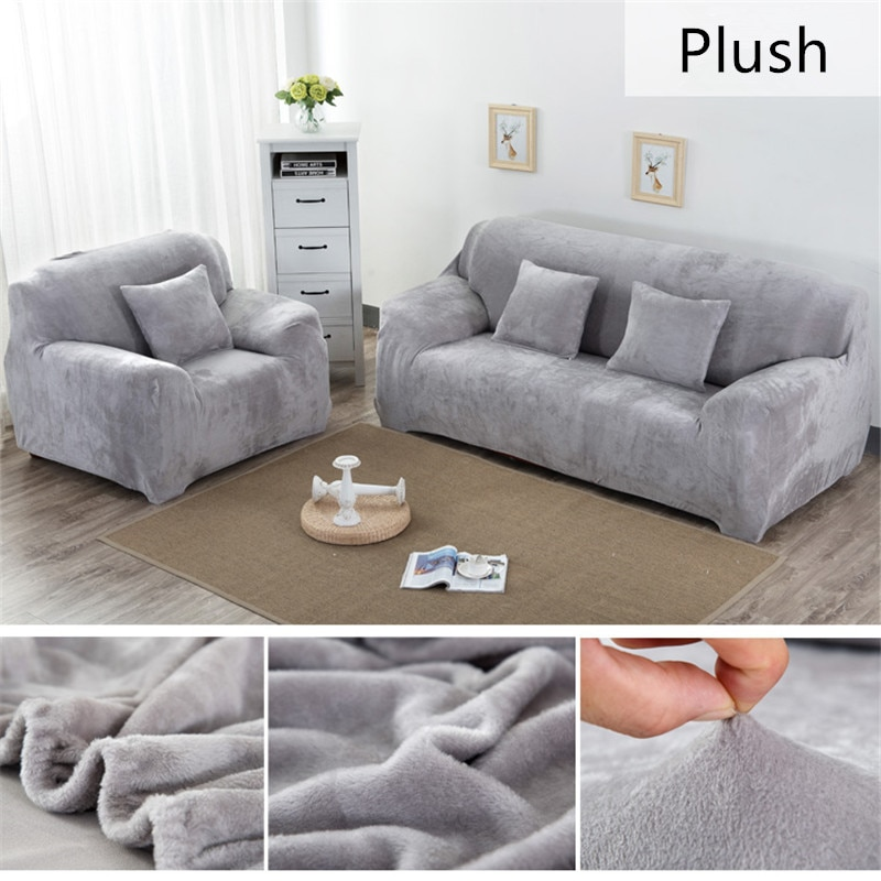 Einfarbig Plüsch Verdicken Elastische Sofa Abdeckung Universal Schnitts Schutzhülle 1/2/3/4 sitzer