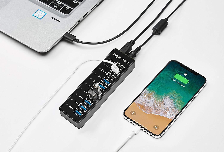 AmazonBasics – USB-Hub, USB-C 3.1 mit 10 Anschlüssen und Netzadapter
