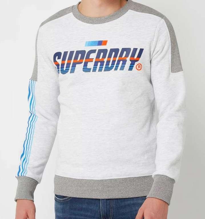 Superdry Herren Super Surf Sweatshirt mit Logo-Print in Grau / Schwarz für 33,99€ inkl. Versand (statt 40€)