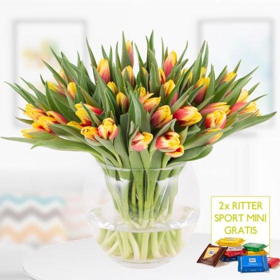 40 zweifarbige Tulpen (rot-gelb) + 2 Ritter Sport Minis für 22,90€ inkl. Versand