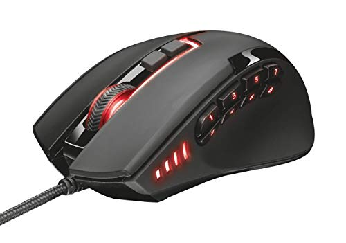Trust Sikanda GXT 164 MMO RGB LED Gaming Maus (5000 DPI, 12 programmierbare Tasten, anpassbare LED-Beleuchtung, Onboard-Speicher)